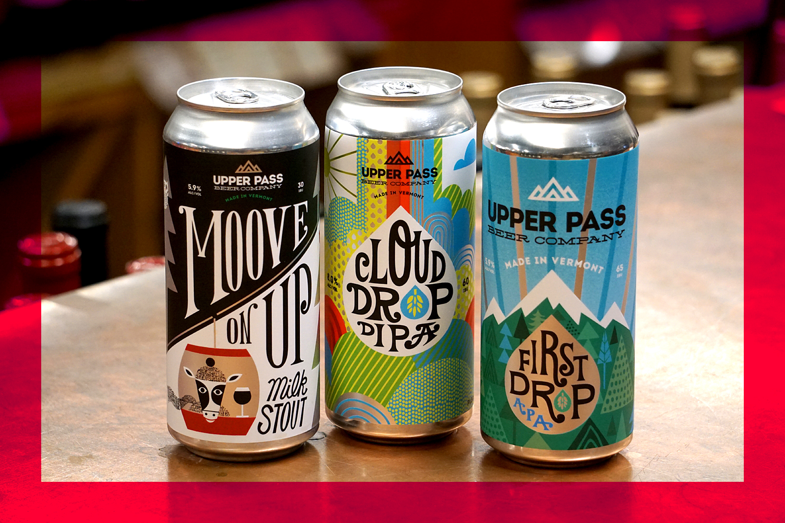 Upper Pass | Cloud Drop DIPA | First Drop APA | Moove On Up Milk Stout | Beverage Warehouse VT